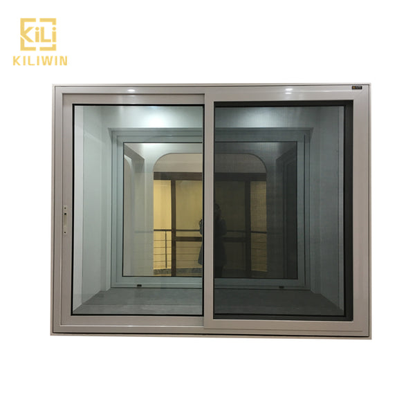 Best price residential windows and doors 3 track powder coated white aluminum temper glass sliding window with mosquito net on China WDMA