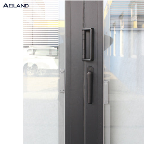 Bifold door entry doors with blinds inserted for privacy on China WDMA