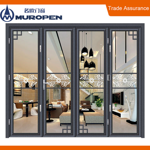 Big view aluminium alloy bi-fold interior glass door continuous twin-seal system comply with American standard on China WDMA