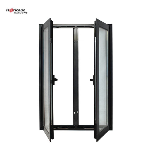 Black Aluminum double hinged triple casement window with folding screen on China WDMA