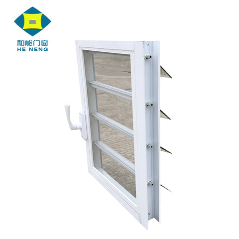 Black European Style Commercial Louvered Double Glazed Aluminium louvre Windows Adjustable on China WDMA