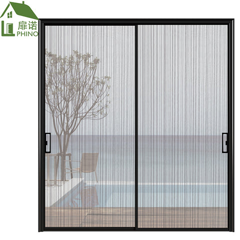 Black aluminum frame double track french partition wall security sliding door for residential living room on China WDMA