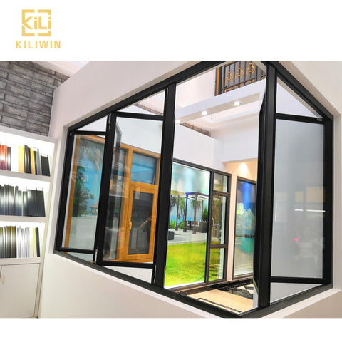 Black french sash windows new design glass color changing acoustic aluminum horizontal accordion folding window for kitchen on China WDMA