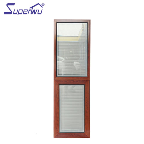 Built-in blind SP40 aluminum frame double glazed wood color awning windows on China WDMA