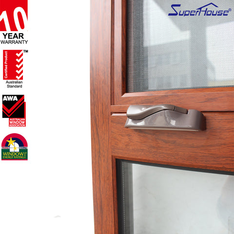 CSA/ NFRC/ Florida/Australia standard Double glass Thermal break aluminum frame wood grain casement window on China WDMA
