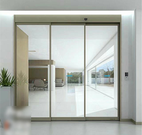 Caesar ES200 three panel aluminum smart patio triple automatic sliding doors with frame for patio on China WDMA