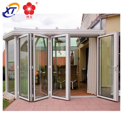 Canada balcony 4 Panel Aluminium Bifold Patio Doors & garden Bi-fold Glass aluminum door frame sections on China WDMA