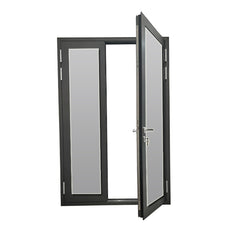 Cheap aluminum framed double glazed hinged door with security stainless steel flyscreen on China WDMA