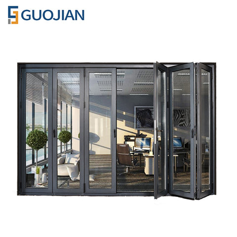 Cheap interior double glazed accordion sliding folding glass doors on China WDMA