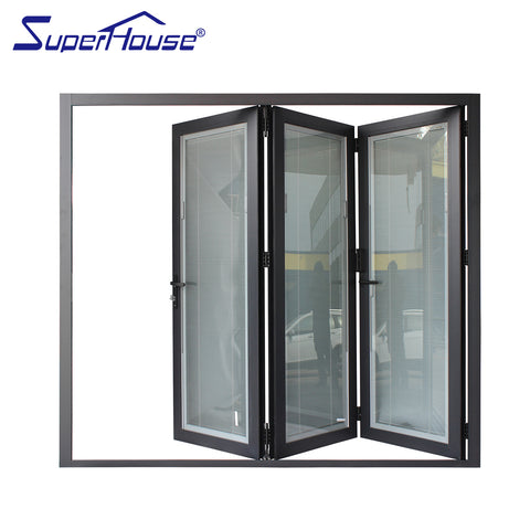 China Aluminum frame profile exterior bifold doors with AS2047 Certificate Meet AS1288 requirements on China WDMA