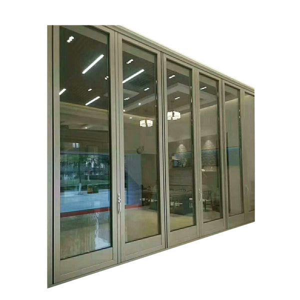 China manufactory high quality aluminum alloy powder coated exterior double glazed bifold doors on China WDMA