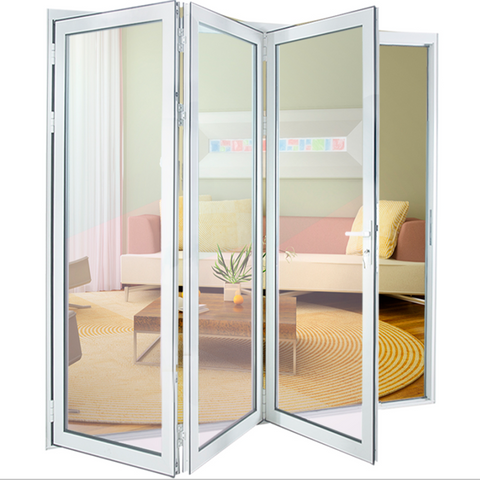 China quality supplier USA/CA standard/AS2047 use glass Exterior bifolding patio doors Aluminum Bi folding mosquito screen on China WDMA