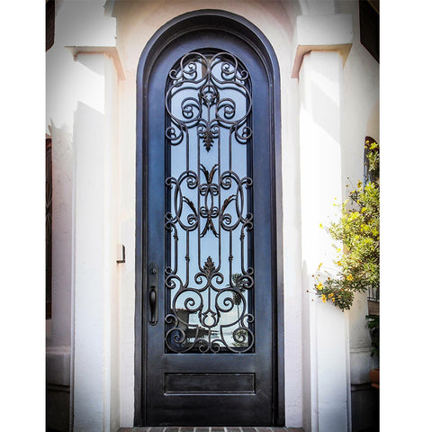 China supplier fashion single wrought iron exterior entry french doors on China WDMA