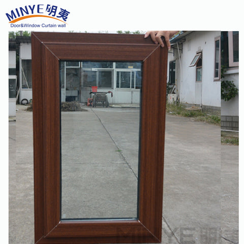 China supplier high quality cheap swing windows wood color UPVC small casement window on China WDMA