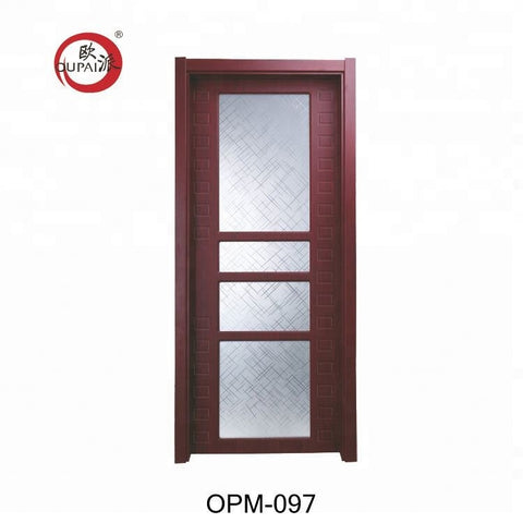 Chinese Cheap Price Waterproof Kitchen Pvc Sliding French Glass Barn Wood Door For Toilet Bathrooms on China WDMA