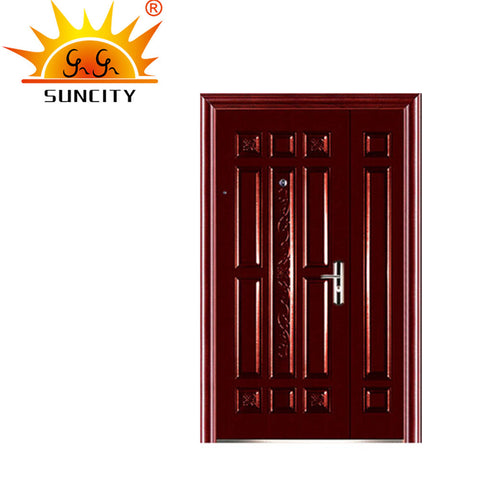 Chinese exterior security double solid wood steel doors on China WDMA