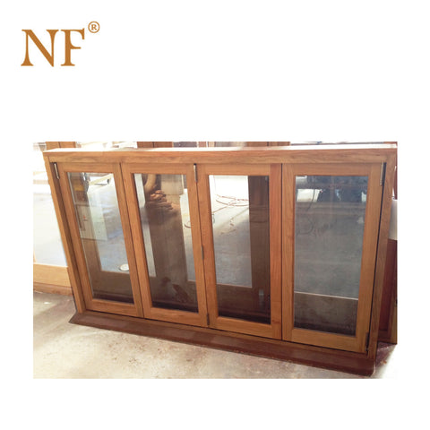 Classic Design Wood look French folding accordion windows on China WDMA