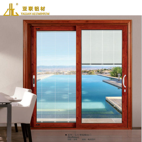 Commercial aluminum frames window , wood grain colors aluminium frame sliding glass window on China WDMA