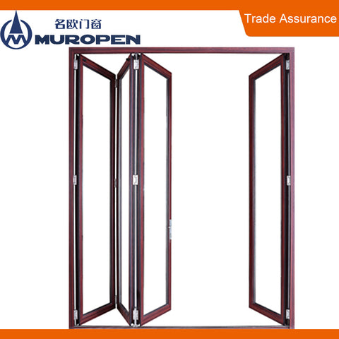 Commercial double glass fold away door accordion folding doors on China WDMA