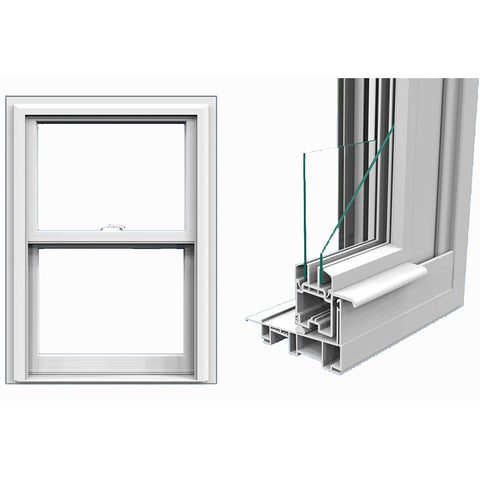 Commercial double toughened glazing aluminium double hung windows on China WDMA