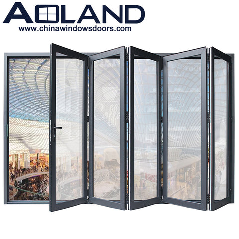 Commercial system accordion bifold patio doors aluminium frame with tempered glass on China WDMA