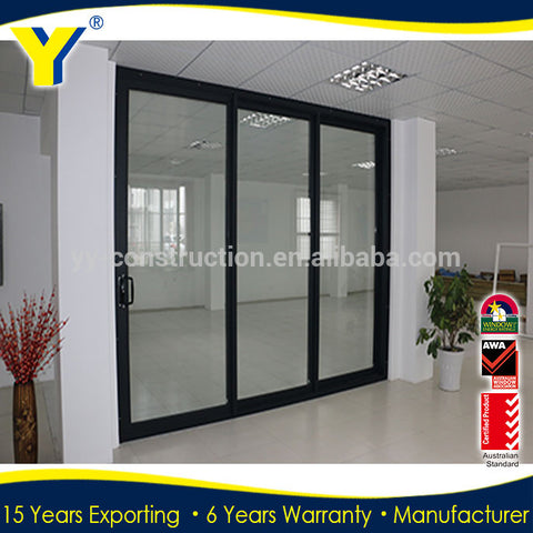 Commercial system aluminium panel sliding doors 3 panel sliding closet doors 3-track sliding closet door triple glass sliding do on China WDMA