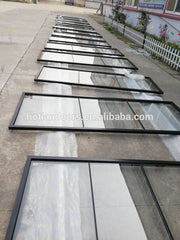 Commercial temper glazed matt black wrought iron french doors window for entrance on China WDMA