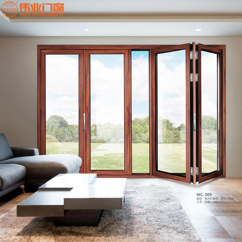 Competitive price aluminum folding door folding patio doors for villa use on China WDMA