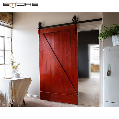 Cost price professional production room rustic bedroom sliding solid Interior wooden pine barn door on China WDMA