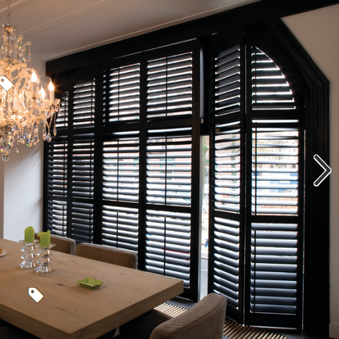 Custom Shutters for Sliding Door Wooden 64mm Louver Plantation Shutters on China WDMA