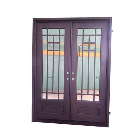 Custom colored oval glass exterior entry wrought iron glass door half moon glass doors on China WDMA
