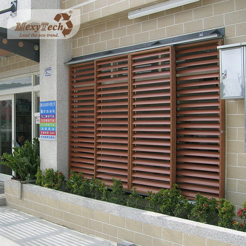 Custom outdoor waterproof wpc sunshade louvers wooden plastic window louver on China WDMA
