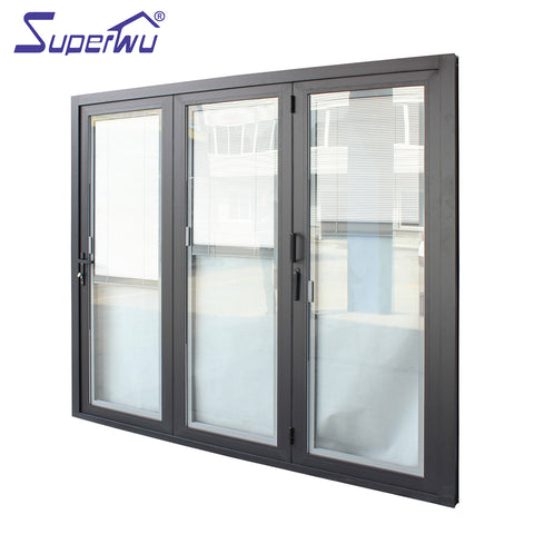 Custom size aluminium frame bi-folding door with three panels with built-in blind retractable flyscreen available on China WDMA