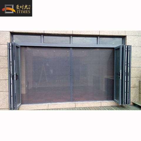 Custom size aluminum frame fiberglass retractable flyscreen retractable screens net bifold door fly mosquito screen mesh door on China WDMA