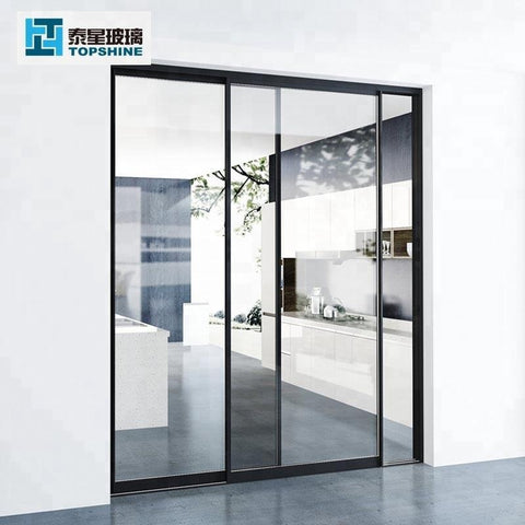Customized Commercial tempered glass sliding door system on China WDMA