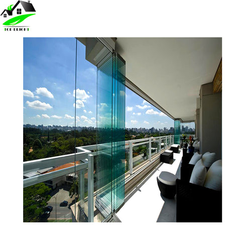 Customized design exterior frameless bifold glass folding door with hardware on China WDMA