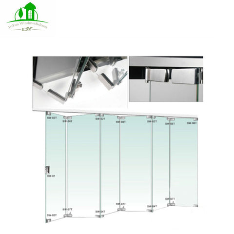Customized size interior frameless sliding folding glass patio door on China WDMA