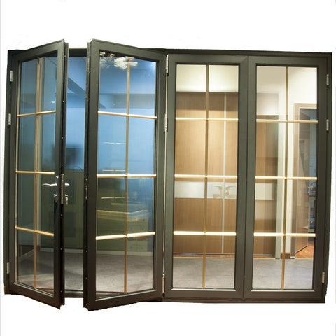 Customized soundproof aluminium accordion folding doors with grill design on China WDMA