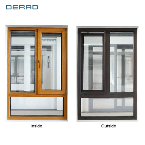 DERAD Wood and Aluminium Frame Triple Glazed Tempered Glass Window With Flyscreen on China WDMA