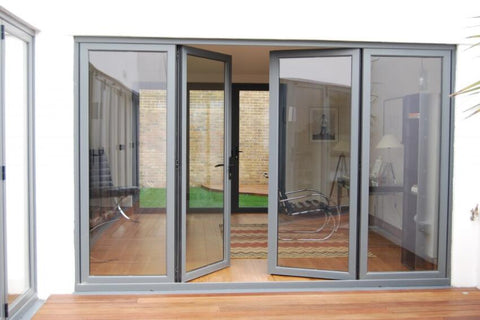 Different shape European Style Cheap Balcony Patio Plastic UPVC PVC Remote Control Slide Front Glass French Door on China WDMA
