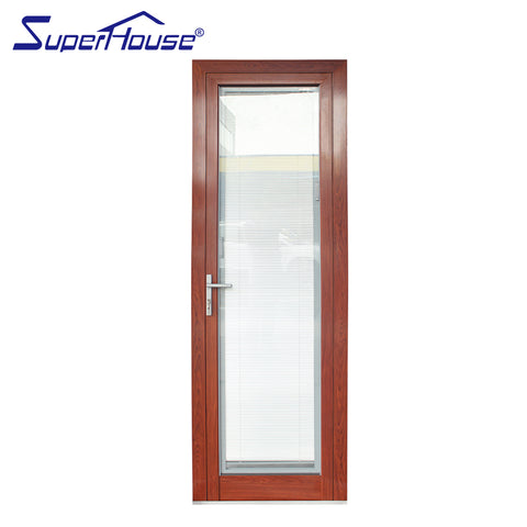 Doors windows aluminium profile french glass doors with insert blinds on China WDMA