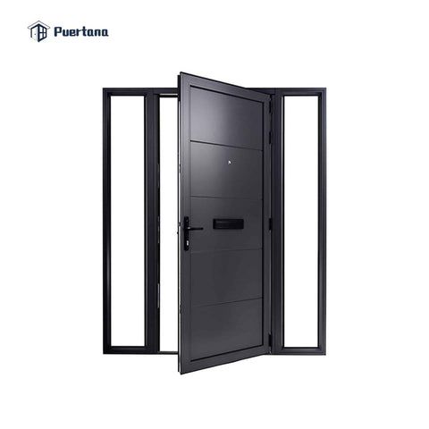 Double Leaf Aluminium Double Front Entry Storm Swing Glass Hinged Door Gate With Tempered Glass Grill Design on China WDMA