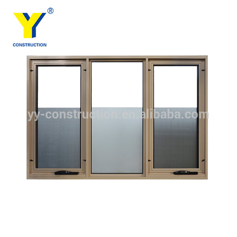 Double glass aluminium vinyl large awning windows with screen on China WDMA