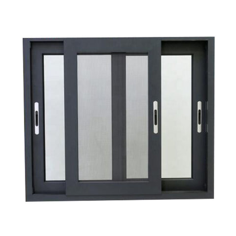 Double glazed glass aluminum 3 tracks sliding windows with mosquito net or blinds on China WDMA