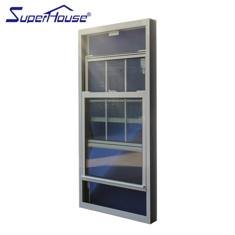 Double glazed low-e glass single hung windows with grill on China WDMA