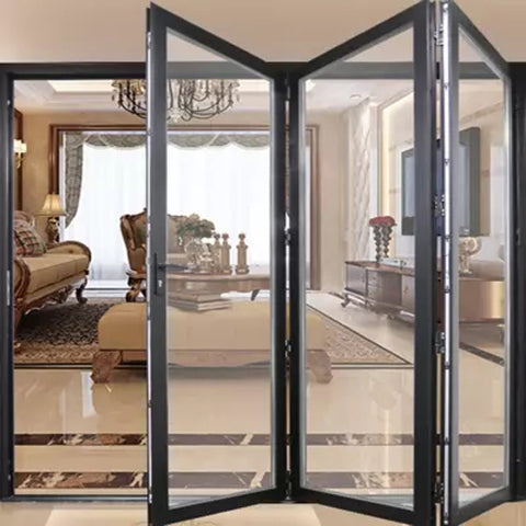 Double glazing bi fold door Accordion aluminum glass patio exterior bifold door on China WDMA