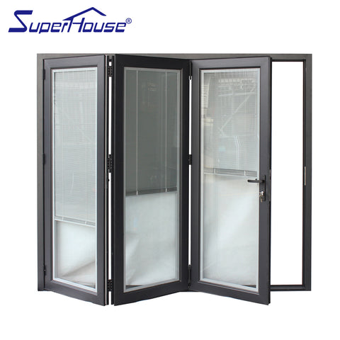 Double glazing folding door track aluminum louvered bifold doors gates on China WDMA