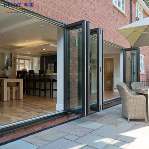 Double glazing lowes bi fold door/Accordion aluminum glass patio exterior bifold door on China WDMA