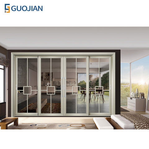 Double side patio aluminum glass sliding door with built in blinds on China WDMA