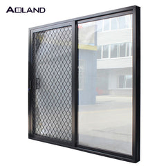 Double side patio aluminum glass sliding door with security mesh on China WDMA